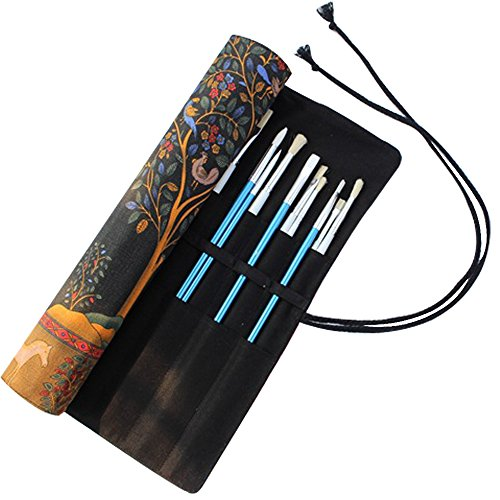 Durable Canvas Artist Brush Holder Draw Pen Watercolor Roll Up Brush Bag Case by Qureal