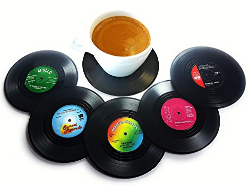 Vinyl Record Disc Coasters | Set of 6 with funny, colorful labels | Perfect for classic music - Glasses To Nerd How Rock