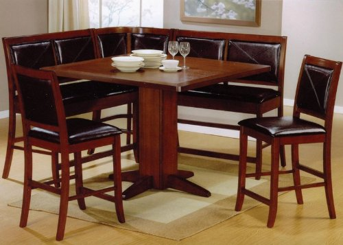 6pc Counter Height Dining Table & Stools Set Dark Brown Finish (Sets Breakfast Nook Dining)