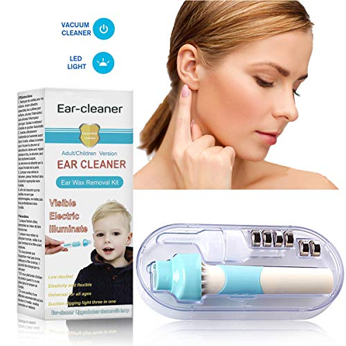 Ear Wax Removal, Ear Wax Vacuum, Ear Cleaner Tool Smart Automatic Ear Removal Kit Adjustable Ear Wax Pick with Led Light Soft Silicone Easy Comfortable Cleaning