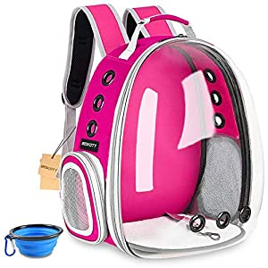 BEIKOTT Cat Backpack Carriers Bag, Dog Backpack, Pet Bubble Backpack for Small Cats Puppies Dogs Bunny, Airline-Approved Ventilate Transparent Capsule Backpack for Travel, Hiking and Outdoor Use