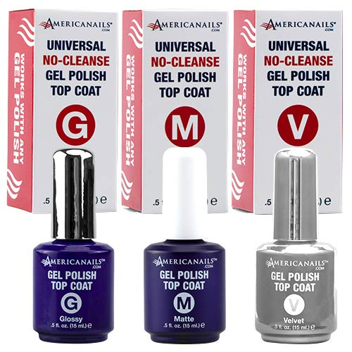 Americanails No-Cleanse Gel Polish Top Coat Trio (Glossy, Matte, Velvet) .5oz by americanails