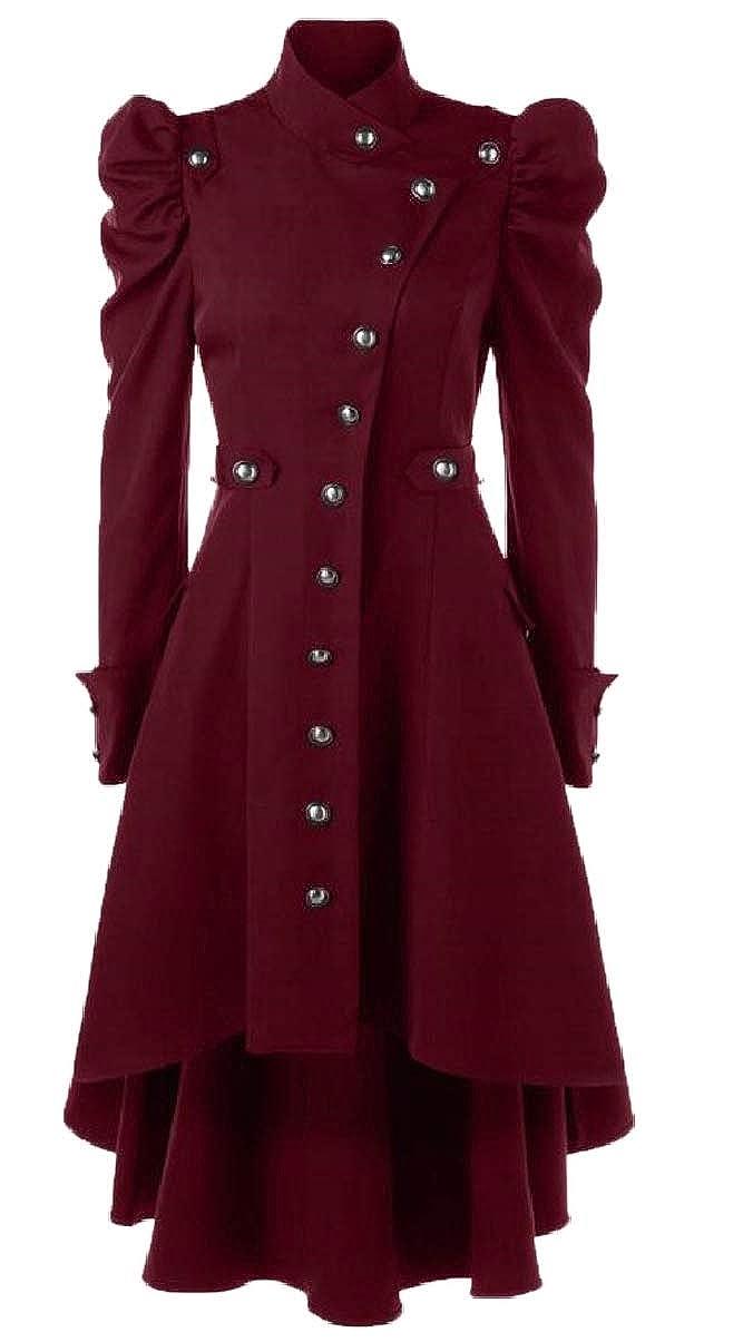 Red ZXFHZSCA Women Jacket Vintage Steampunk Long Coat Gothic Overcoat Ladies Tops
