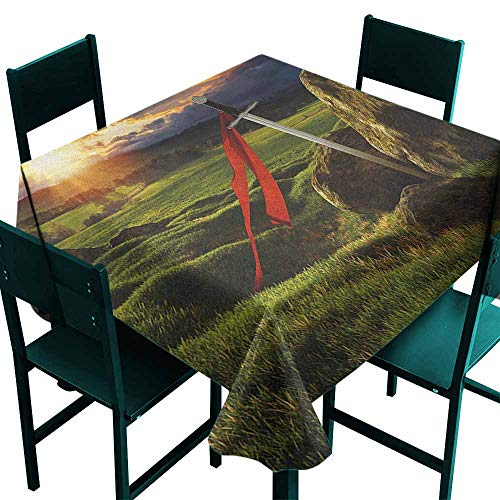 Warm Family King Waterproof Tablecloth Arthur Camelot Legend Myth in England Ireland Fields Invincible Myth Image Great for Buffet Table W36 x L36 Green Blue and Red