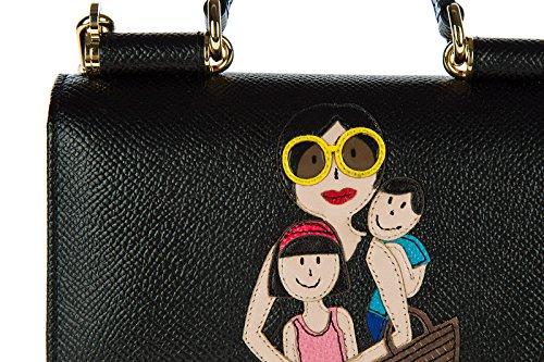 Dolce&Gabbana cover case custodia telefono in pelle dauphine ricamo nero