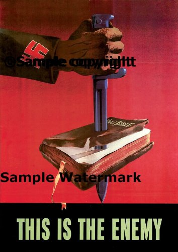 Nazi Holy Bible This Is the Enemy American Patriotic War Military 20'' X 30'' Image Size Vintage Poster Reproduction by Heritage Posters