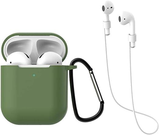 Fat Mashroom Funda de Auriculares Apple AirPods 2 Auriculares inalámbricos Protectores de Carga Bluetooth Funda de Silicona Bolsas para Auriculares con Ganchos de Cuerda, Verde Oscuro: Amazon.es: Hogar