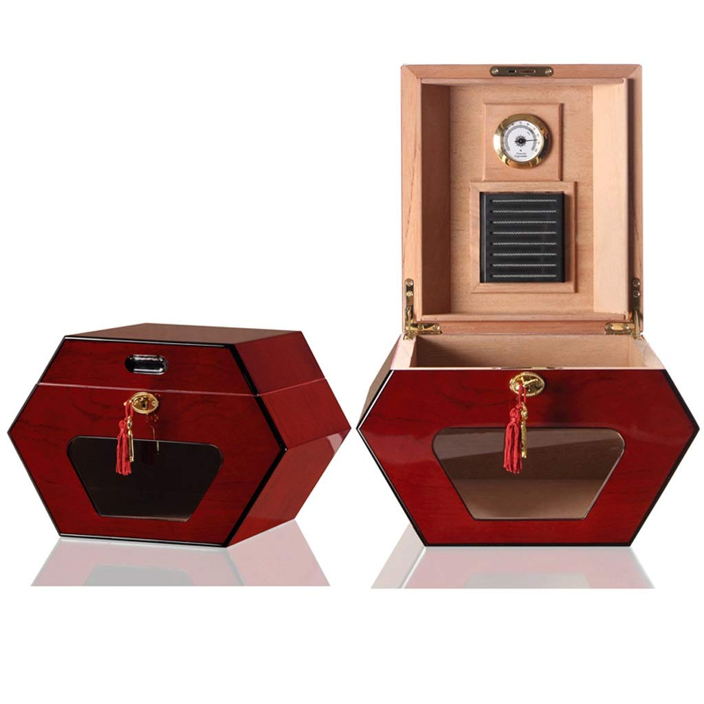 葉巻ヒュミドール シガーボックス - シガーボックスキューバ輸入シガーボックス一定温度と湿度シガーキャビネットシダーウッドシガーヒュミドール (色 : Red)  Red B07NV72CT3