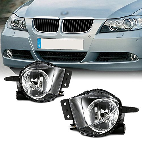 cciyu Clear OE/Replacement Fog Light Assembly Replacement fit for 2006-2008 BMW E90 3 Series Pair Set
