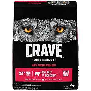 CRAVE Grain Free with Protein from Beef Dry Adult Dog Food, 12 Pound Bag