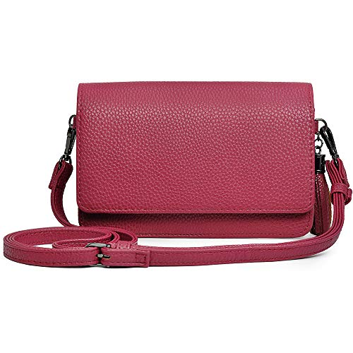 Small Crossbody Bag Cell Phone Purse Wallet Lightweight Roomy Travel Passport Bag Crossbody Handbags for Women (Horizontal Rose Red)