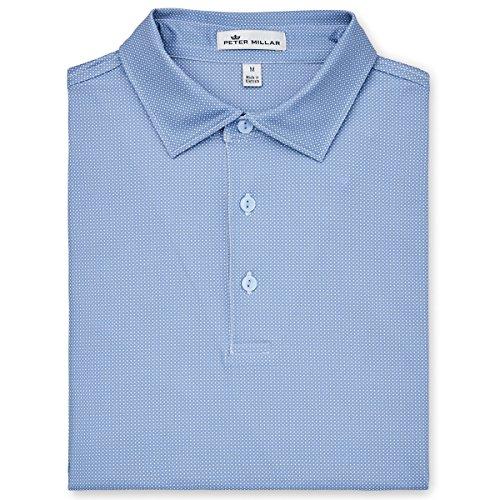 Peter MillarメンズマルチMini Polka Dot Poloシャツinfinityブルー – XL