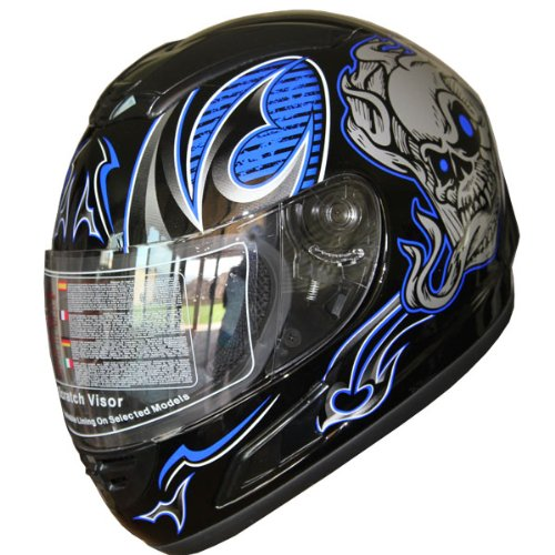 Motorcycle Helmet Full Face Sports Bike Helmet Skull F54 Blue/black+Gloves (M)