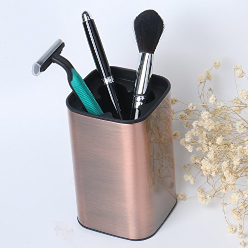 - CROWNSTARQI Toothbrush Holder Stand Tumbler Cup Stainless Steel Olivia Square Toothpaste Holder for Bathroom Countertops -Bronze