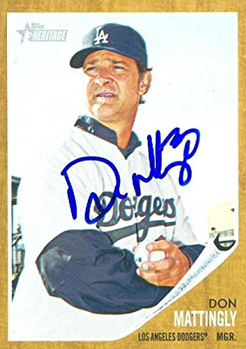 Don Mattingly autographed baseball card (Los Angeles Dodgers, SC) 2014 Topps Heritage #217 - Baseball Slabbed Autographed Cards