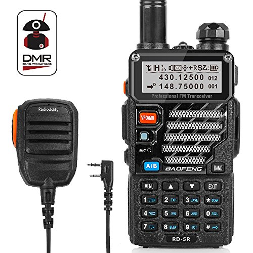 Radioddity x Baofeng RD-5R Dual Band Dual Time Slot DMR, VHF/UHF1024 Channels FM Radio Rechargeable Long Range Walkie Talkies Compact Ham Amateur Radio, Programming Cable + Remote Speaker
