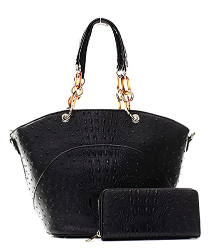 Handbag Inc Ostrich Vegan Leather Hobo Shoulder Handbag and Wallet (Black) by Handbag Inc