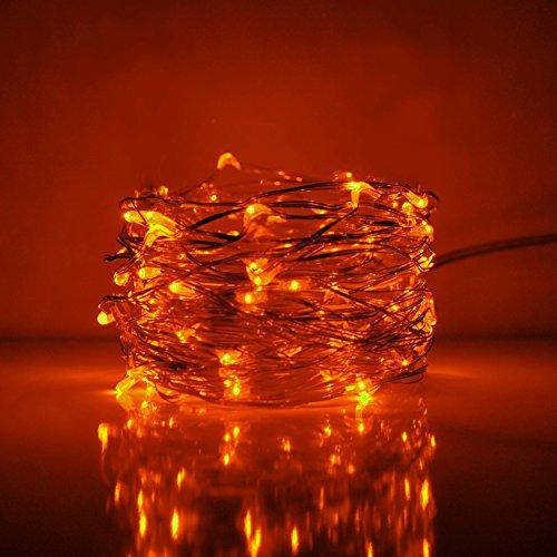 Fairy Lights- 33 Foot Plug In 100 Micro LED on Copper Wire - - Copper Orange