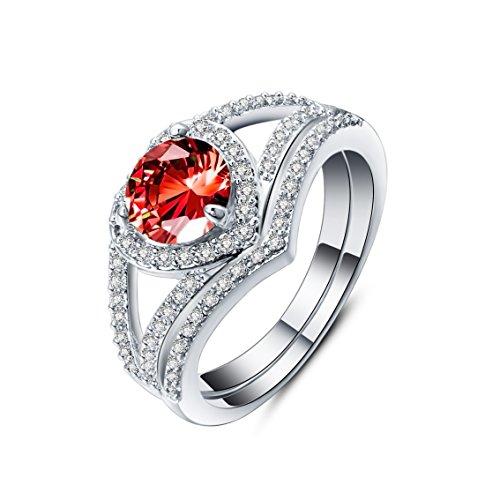8a78d6a4a6ea Anillo Mujer Zircon Titanio Crystal Clásico Adornos Chapado en oro Piedra  Mampostería Rojo Forma de corazón