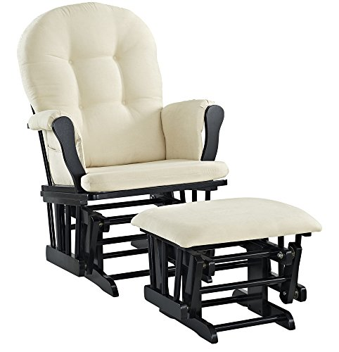 Angel Line Windsor Glider and Ottoman Cushion Set Black with Beige