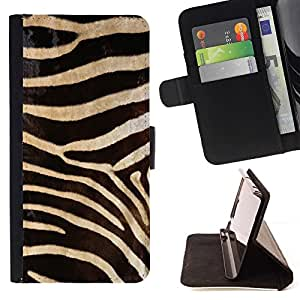 BETTY - FOR Sony Xperia Z2 D6502 - Black White Zebra Pattern - Style PU Leather Case Wallet Flip Stand Flap Closure Cover