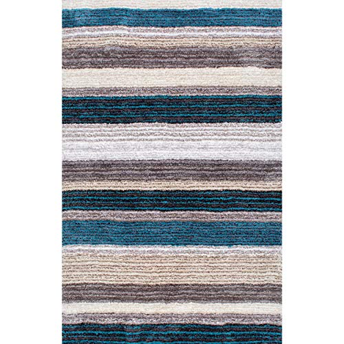 nuLOOM HJZOM1B Classie Hand Tufted Shag Rug, 5 x 8 , Blue Multi, Rectangle
