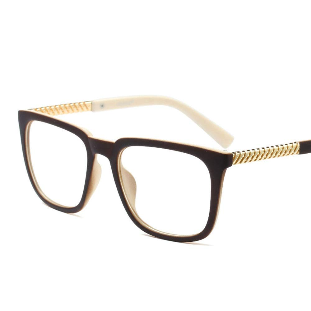 Fashion Retro Square Glasses Frame, Can Be Equipped with Myopia Glasses for Women Retro (color   Coffee Beige)