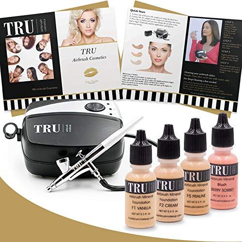 TRU Airbrush Makeup Kit Tan/Dark Mineral Foundation 6 Piece Makeup Set