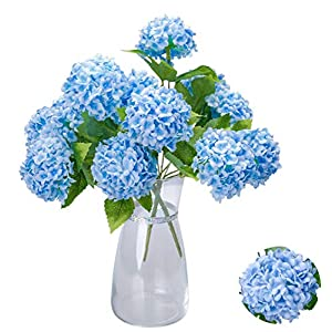Greentime Artificial 7 Heads Hydrangea Flowers Fake 13 Inches Mini Silk Hydrangea Flowers Faux Tiny Hydrangea Bouquet for Wedding Home Table Centerpiece Party Decoration (Blue)
