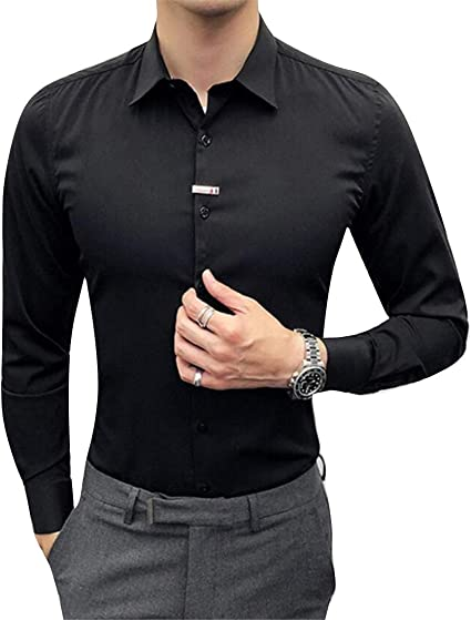 Fubotevic Mens Lapel Plaid Long Sleeve Casual Button Up Dress Work Shirt