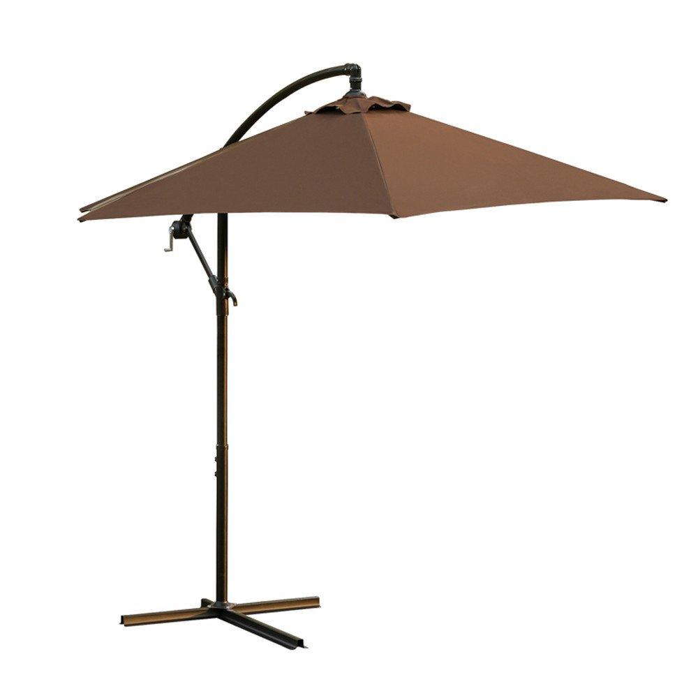 Rectangular Patio Outdoor Table Market Umbrella Living Solid Color Umbrellas, Offset Hanging Umbrella, Garden Umbrella,137.8106.398.4(Ship from USA) (Brown)