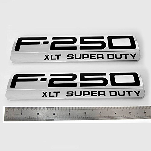 Sanucar 2pcs OEM F-250 Xlt Super Duty Side Fender Emblems Badge 3D Logo for F250 Xlt Pickup (Chrome Black)