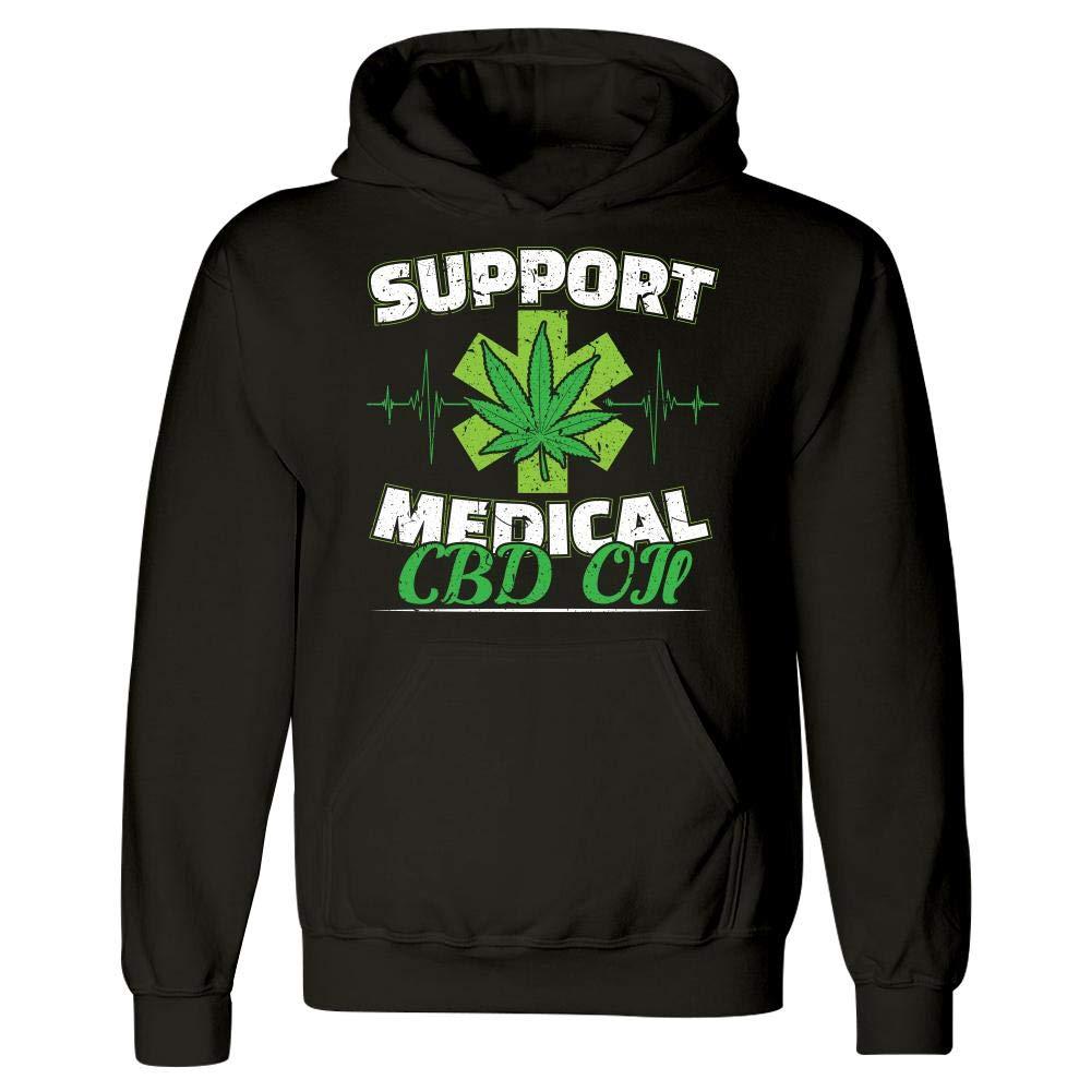 Hoodie Support Medical CBD Oil Marijuana Distressed Edibles and Pot Leaf Smoking