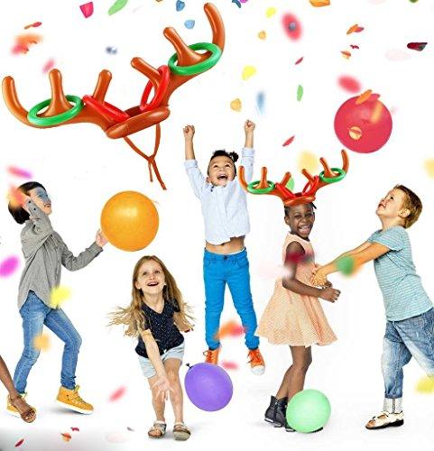 Anillo inflable de la cornamenta de renos Juego de lanzamiento Juego de la despedida de la fiesta navideña para la familia Niños Juegos divertidos de ...