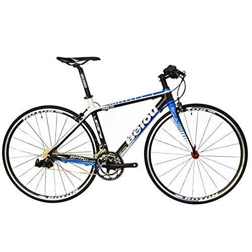 BEIOU 2016 Carbon Comfortable Bicycles 700C Road Bike LTWOO 210 Speed SRAM Brake Complete 18.3 lb Hybrid Bike Toray T800 Fiber CB0012B (White Blue, 480mm)