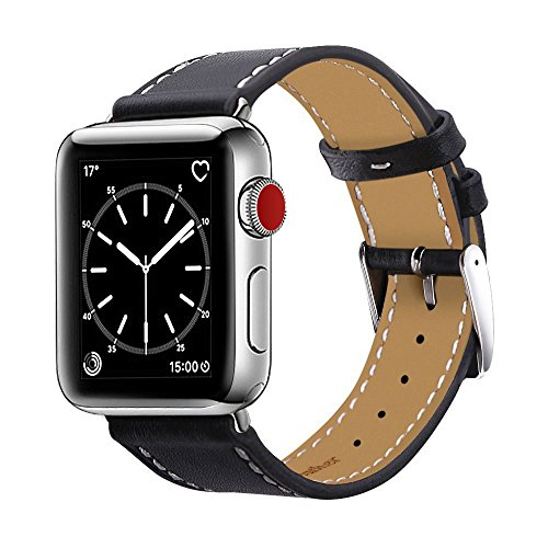 Compatible with Apple Watch Band 38mm, Marge Plus Genuine Leather iwatch Band Replacement Strap with Stainless Metal Clasp Compatible Apple Watch Series 3 Series 2 Series 1 Sport and Edition - Black by MARGE PLUS