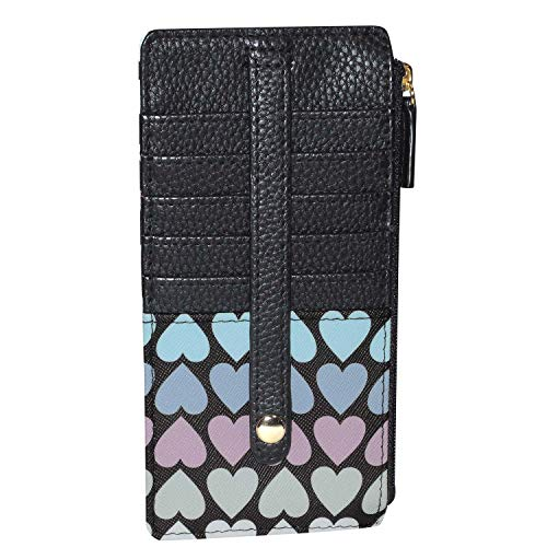 Buxton Womens Leather 3 in 1 Thin Credit Card Case Wallet/Change Purse/Id Holder (Heart)