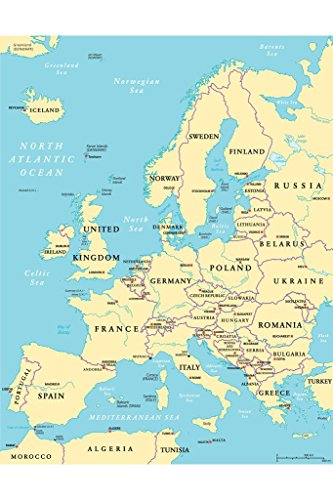 Political Map of Europe Art Print Poster 24x36 inch