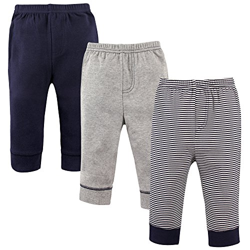 'Luvable Friends Baby Boys 3 Pack Tapered Ankle Pants, Navy Stripes, 0-3 Months'