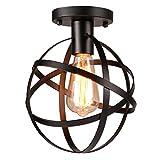 Uarter Antique 1-Light Metal Globe Chandelier with Cage Flush Mount Ceiling Lamp Light Fixture,Suitable for E26, Black