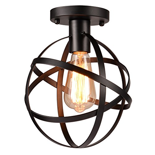 Hanging Vanity Bathroom (Uarter Antique 1-Light Metal Globe Chandelier with Cage Flush Mount Ceiling Lamp Light Fixture,Suitable for E26, Black)