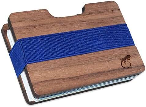 Iguana Slim Minimalist Men's Wooden Wallet. Handmade And Laser Engraved With Walnut Wood.
