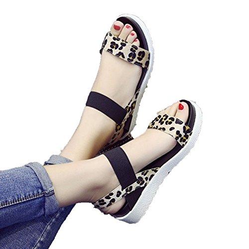 Kingwhisht 2018 Women Shoes Roman Sandals Shoes Women Sandals peep-Toe Flat Shoes Woman Mujer Sandalias (Brookhaven Leather)