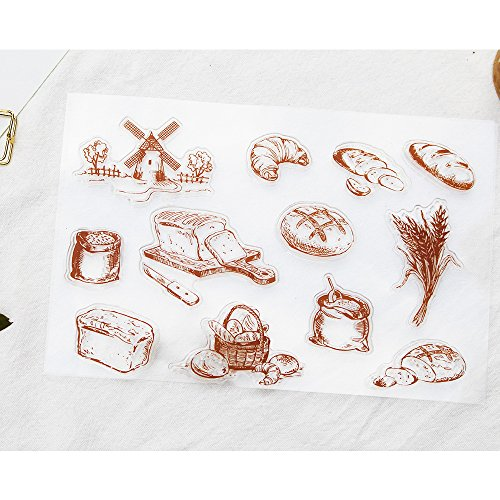 Bread Food Wheat Scrapbook Ink Rubber Clear Stamp Set For DIY Card Making