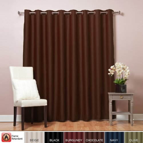 Best Home Fashion Wide Width Flame Retardant Thermal Insulated Blackout Curtain - Antique Bronze Grommet Top - Chocolate - 100