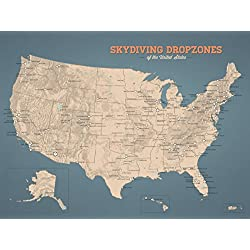 US Skydiving Dropzones Map 18x24 Poster (Tan & Slate Blue)