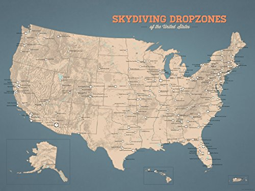 US Skydiving Dropzones Map 18x24 Poster (Tan & Slate - Map City Center Creek