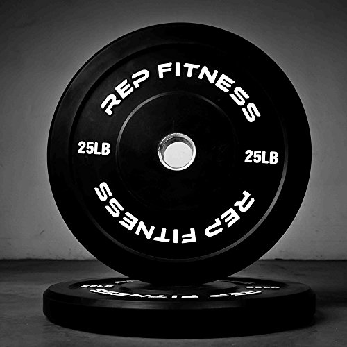 Rep Bumper Plates for Strength and Conditioning Workouts and Weightlifting 25 lb Pair by Rep Fitness (Image #1)