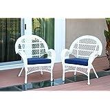 Jeco W00209-C_2-FS011-CS Wicker Chair with Blue Cushion, Set of 2, White/W00209-C_2-FS011-CS