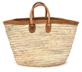 Moroccan Straw Tote Bag w/ Brown Leather Handles & Trim, 22